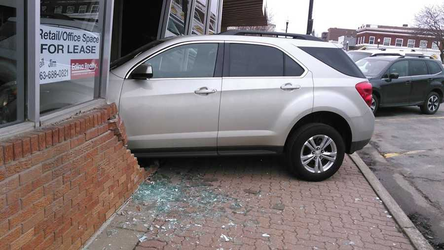 A 17-year-old driver crashed into a building Wednesday, police said.