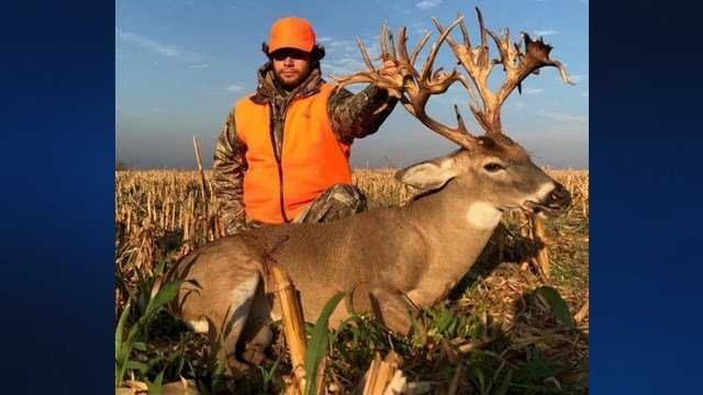Stephen Tucker poses with his potentially record-breaking kill.