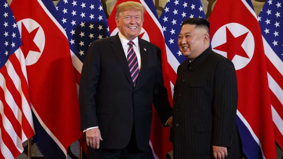 President Donald Trump meets North Korean leader Kim Jong Un, Wednesday, Feb. 27, 2019, in Hanoi.