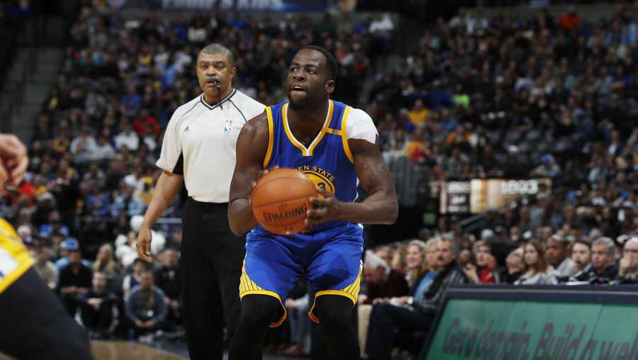 Golden State Warriors forward Draymond Green (23) in the first half of an NBA basketball game Monday, Feb. 13, 2017, in Denver.