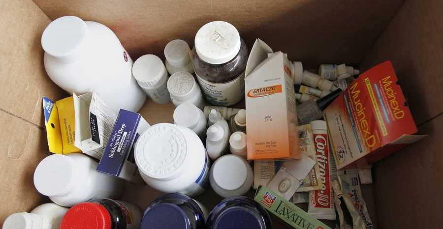 Bottles and boxes of surplus and expired medications that Kathy Burke of Gibsonia, were brought to the Allegheny County police station in North Park to be disposed of on Saturday, April 28, 2012, in Allison Park, Pa.