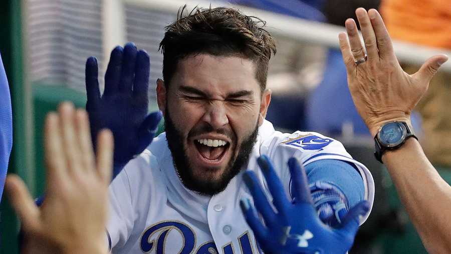 Kansas City Royals' Eric Hosmer celebrates in the dugout after hitting a three-run home run during the fourth inning of a baseball game against the Minnesota Twins Friday, June 30, 2017, in Kansas City, Mo. (AP Photo/Charlie Riedel)