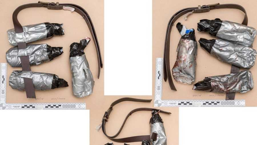 The three fake explosive belts worn by the London Bridge attackers