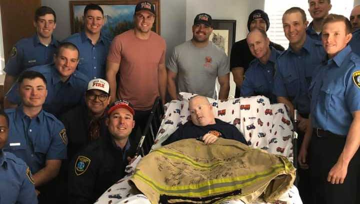 Oklahoma City firefighters on Wednesday visited a local man with Down Syndrome who loves first responders.