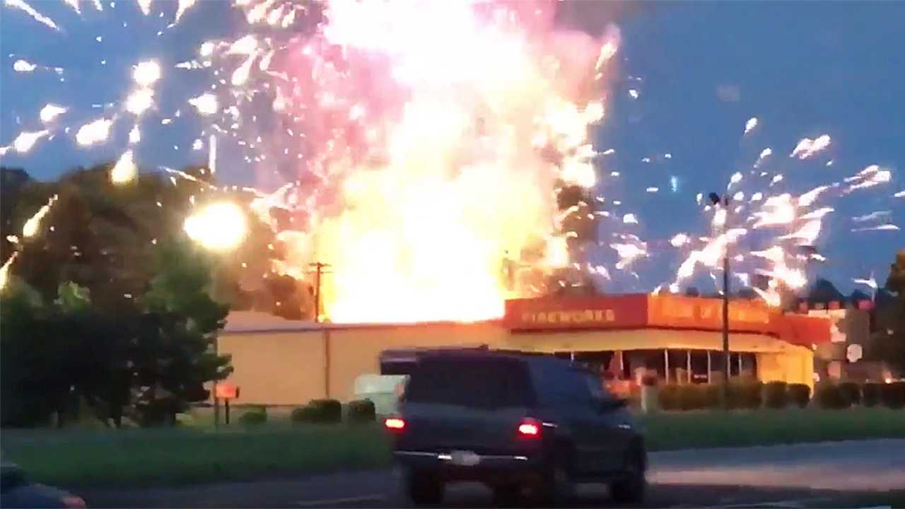VIDEO: Fire crew dodges rockets as store fireworks explode thumbnail