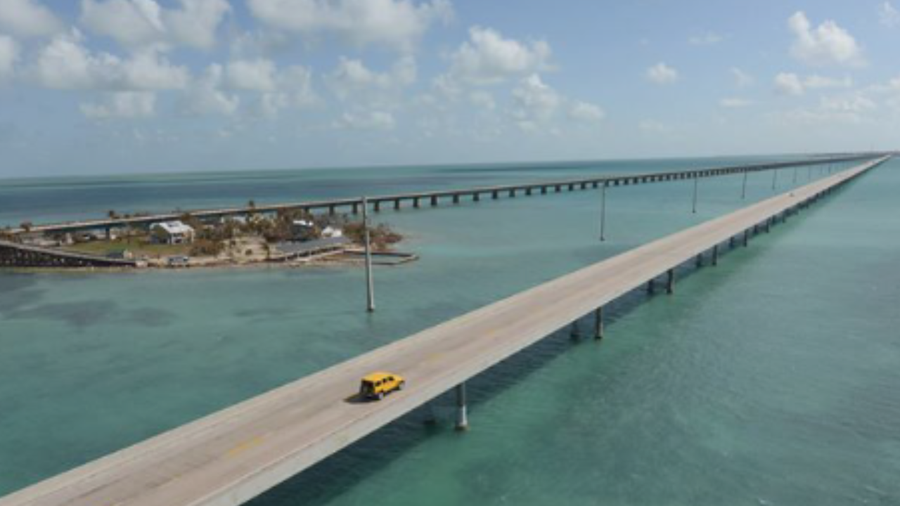 Bridges in the Florida Keys are shown.