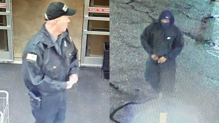 Surveillance images of security guard (left) and wanted suspect (right) in Food Lion shooting death