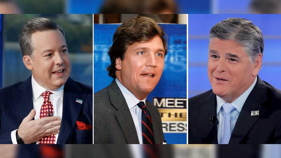 "In this combination photo, Ed Henry, from left, speaks on ""Fox & Friends"" on Sept. 6, 2019, in New York, Tucker Carlson arrives for the 60th anniversary celebration of NBC's Meet the Press on Nov. 17, 2007, in Washington and Sean Hannity interviews Roseanne Barr during a taping of his show on July 26, 2018, in New York. Two women filed a lawsuit against Fox News that named network stars Hannity, Carlson and Ed Henry."