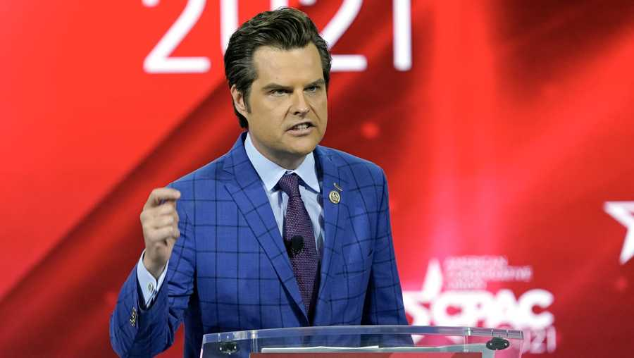 In this Feb. 26, 2021, file photo Rep. Matt Gaetz, R-Fla.,, speaks at the Conservative Political Action Conference (CPAC) in Orlando, Fla.