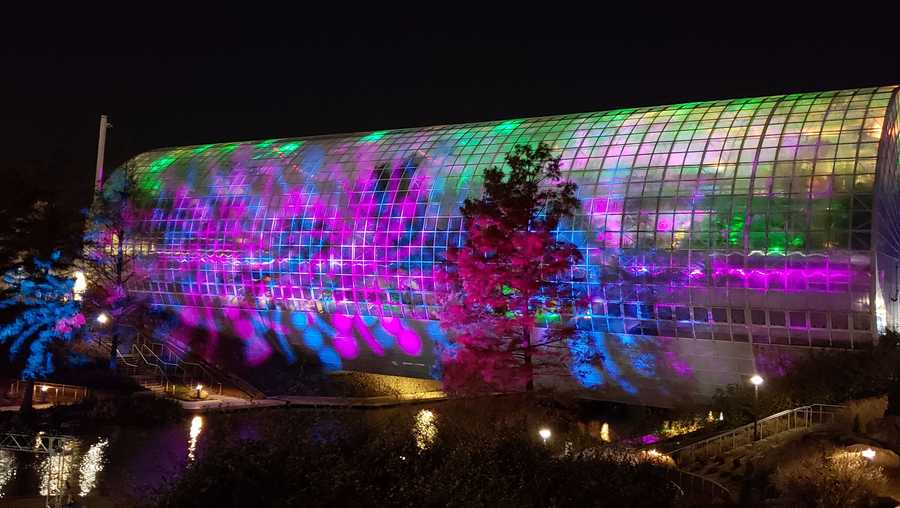 "The Myriad Botanical Gardens in Oklahoma City is celebrating the holiday season with an immersive light installation inspired by the world-famous painting ""The Starry Night"" by Vincent Van Gogh."