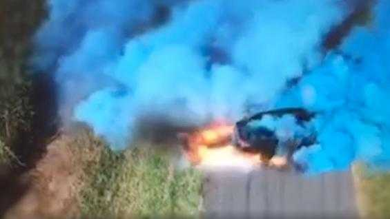 Australia's Queensland Police Service released footage of a gender reveal party on the country's Gold Coast, which took a dramatic turn as a car used to spew blue smoke suddenly ignited.