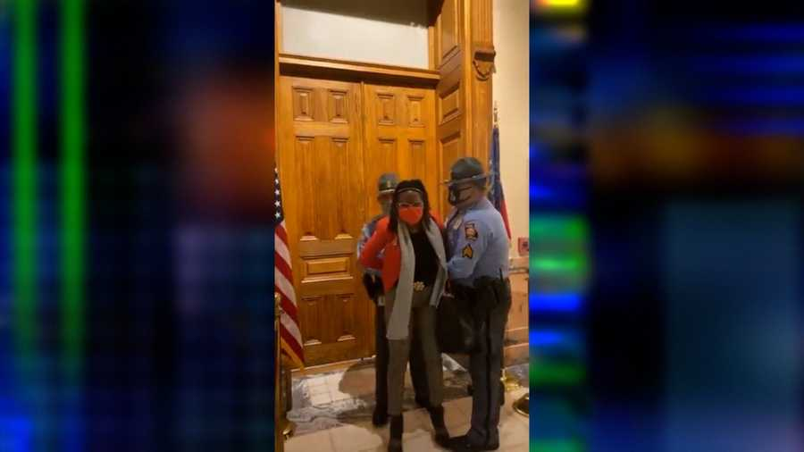 Georgia state Rep. Park Cannon was arrested and removed from the Georgia Capitol on Thursday after passage of the state's sweeping elections bill restricting voting acces