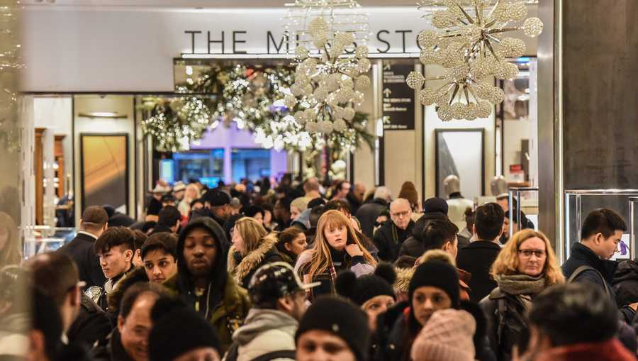 People shop at the Macy's flagship store on 34th St. on Black Friday on Nov. 23, 2018, in New York City.