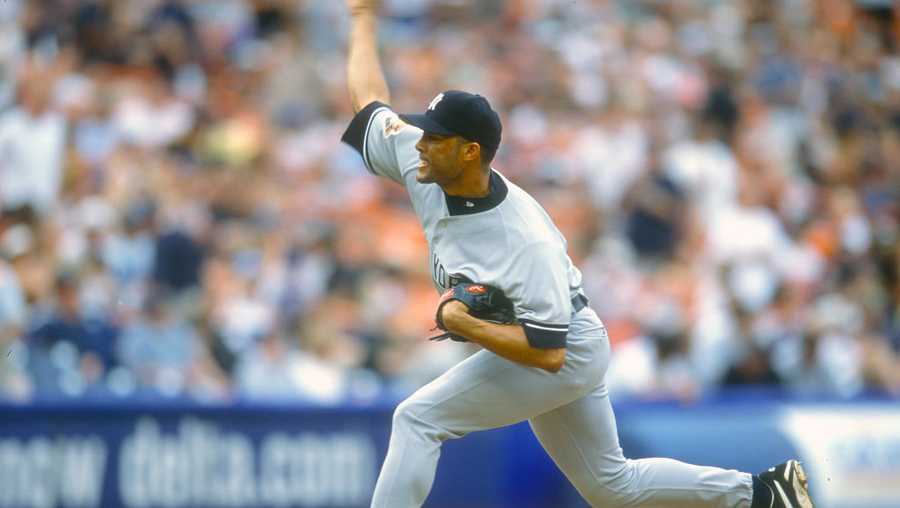 Mariano Rivera #42 of the New York Yankees pitches against the Oakland Athletics during an Major League Baseball game circa 1996 at the Oakland-Alameda County Coliseum in Oakland, California. Rivera played for the Yankees from 1995-2013.