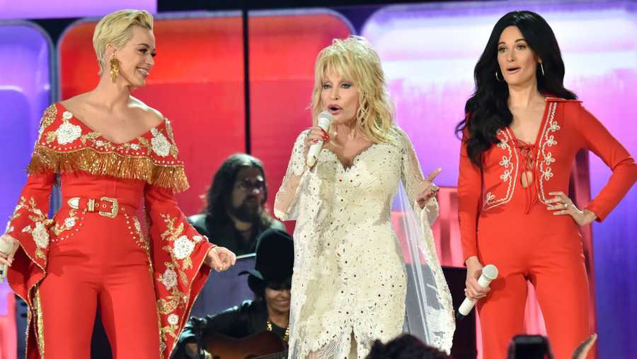 Katy Perry, Dolly Parton and Kacey Musgraves perform onstage during the 61st Annual GRAMMY Awards at Staples Center on Feb. 10, 2019, in Los Angeles, California.