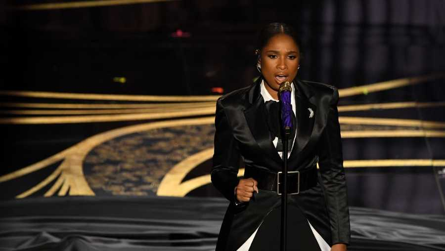 "Jennifer Hudson performs ""I'll Fight"" from the documentary ""RBG"" during the 91st Annual Academy Awards at the Dolby Theatre in Hollywood, California on Feb. 24, 2019."