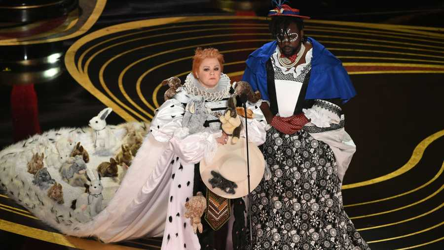 Melissa McCarthy and Brian Tyree Henry speak onstage during the 91st Annual Academy Awards