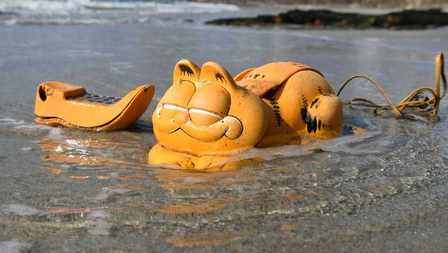 A plastic 'Garfield' phone is displayed on the beach on March 30, 2019 in Le Conquet, western France. - For more than 30 years, plastic phones in the shape of the famous cat 'Garfield' have been washing up on French beaches. The mystery is now solved : a shipping container which washed up during a storm in the 1980s, was found in a hidden sea cave.