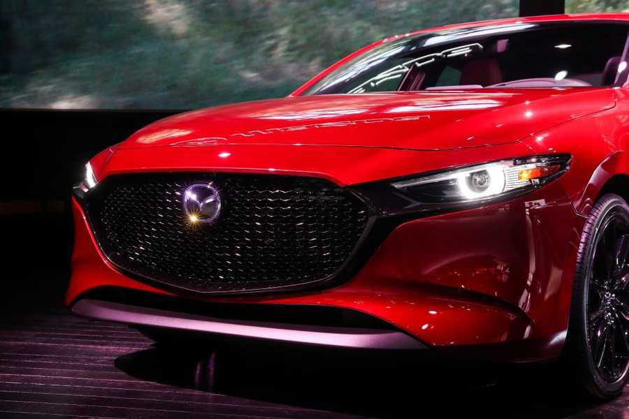 2020 Mazda 3 is on display during the New York International Auto Show on April 18, 2019 in New York, United States.