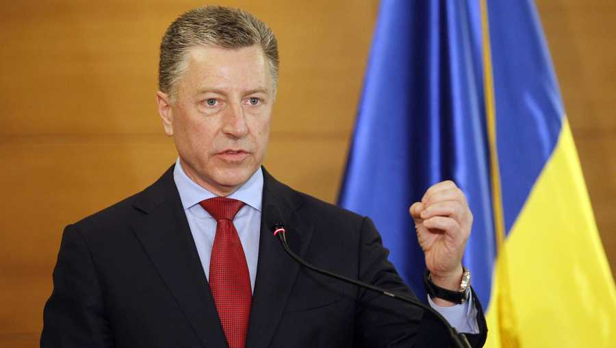 Kurt Volker, U.S. Department Special Representative for Ukraine, speaks during a press conference about U.S.-Ukrainian relations in Kiev on July 27, 2019.