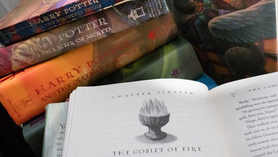A collection of Harry Potter books are pictured at a home in Washington, DC.