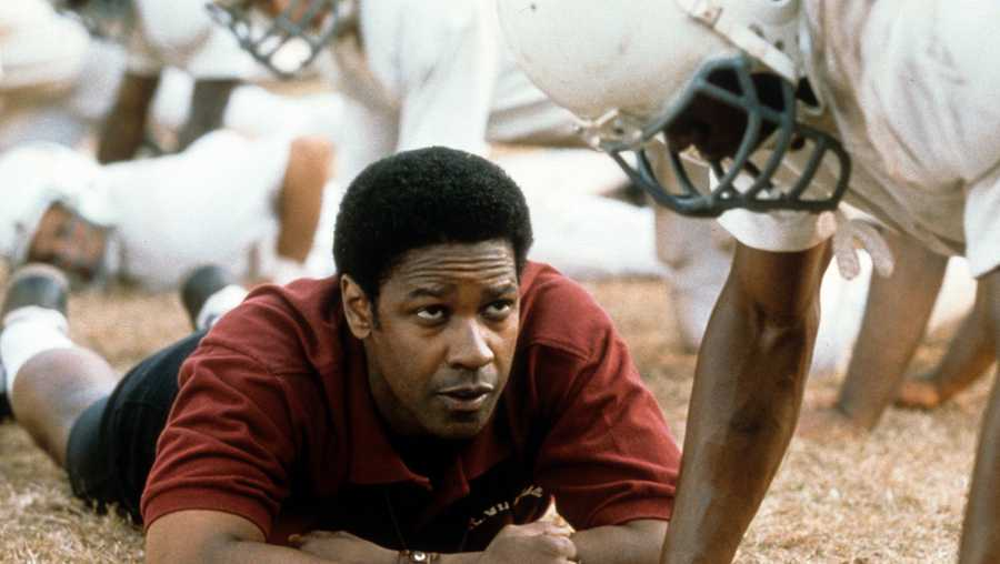 Denzel Washington motivates football players in a scene form the 2000 film 'Remember The Titans.'