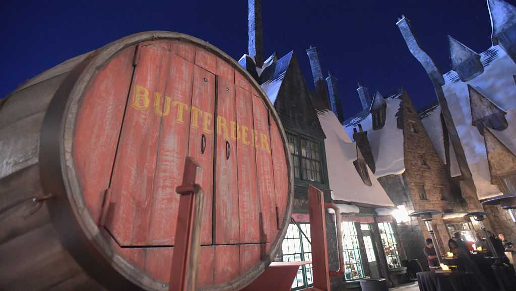 View of the Butterbeer barrel at the opening of the Wizarding World of Harry Potter at Universal Studios Hollywood on April 5, 2016.