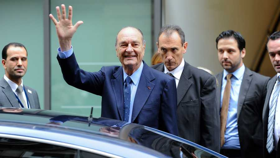 Former French President Jacques Chirac goes out after a visit at the Foundation Chirac Third Prize Ceremony dedicated to conflict prevention, in Quai Branly Museum on Nov. 24, 2011 in Paris, France.