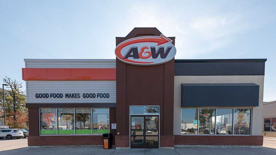 A&W Restaurants serves a typical fast-food menu of hamburgers and French fries.