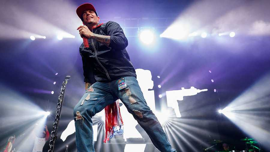 Rapper Vanilla Ice performs on stage during the 'I Love The 90's Tour' at Abbotsford Centre on April 22, 2017 in Abbotsford, Canada.