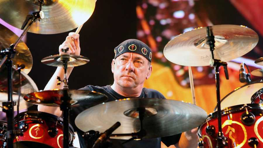 LAS VEGAS - MAY 10:  Rush drummer Neil Peart performs at the Mandalay Bay Events Center on May 10, 2008 in Las Vegas, Nevada.