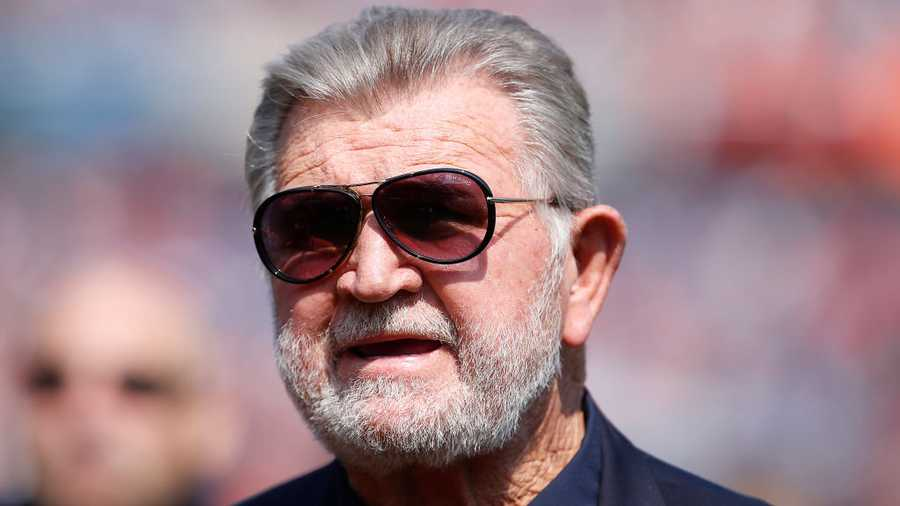 Former Chicago Bears head coach Mike Ditka walks the sidelines during the game between the Chicago Bears and the Atlanta Falcons at Soldier Field on Sept. 10, 2017 in Chicago.