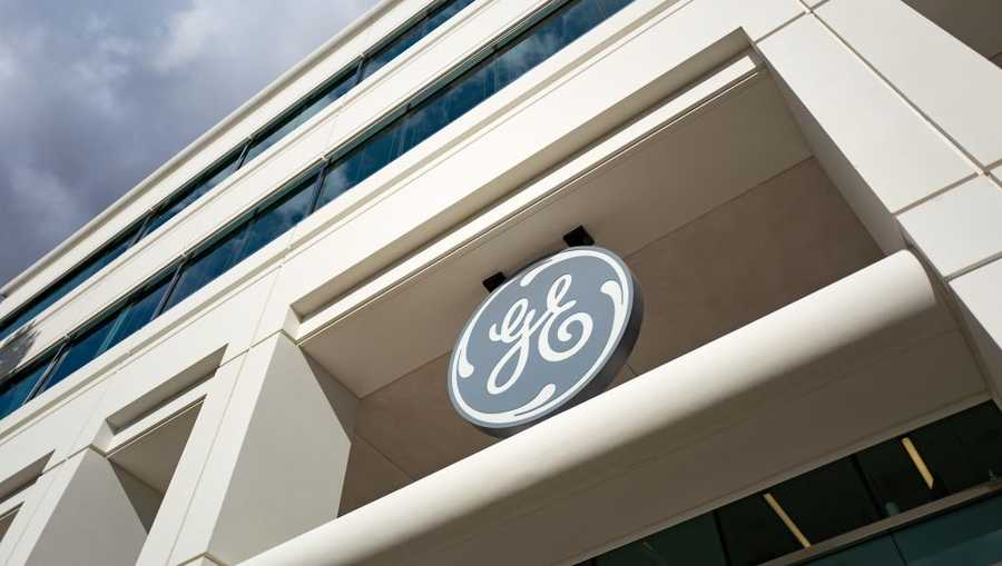 Logo for General Electric on a building in the Bishop Ranch office park in San Ramon, California, October 20, 2017. (Photo by Smith Collection/Gado/Getty Images)