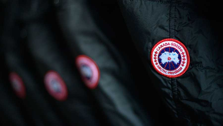 A detailed view of the Canada Goose logo on coats inside the Canada Goose Director Suite during the 2018 Sundance Film Festival Marriott on January 18, 2018 in Park City, Utah.