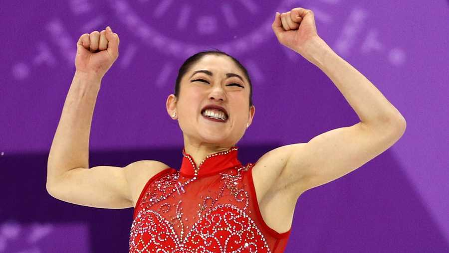 Mirai Nagasu of the United States of America celebrates after competing in the Figure Skating Team Event Ladie's Single Free Skating on day three of the PyeongChang 2018 Winter Olympic Games at Gangneung Ice Arena on February 12, 2018 in Gangneung, South Korea.