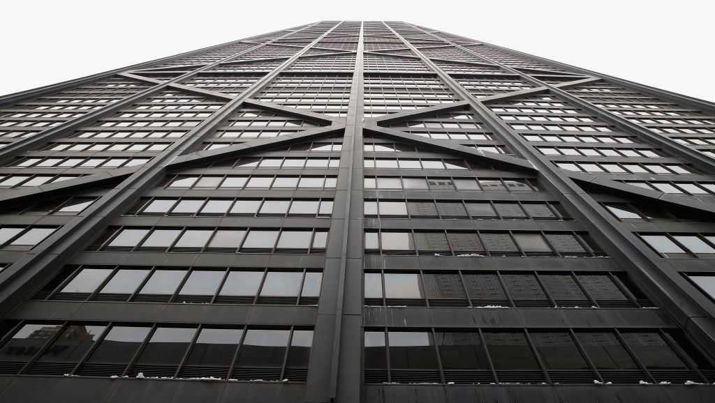 The John Hancock Center, one of Chicago's most famous skyscrapers, is changing its name on February 13, 2018 in Chicago, Illinois. John Hancock Financial, the building's former owners and namesake, has asked that its name and logos be removed from the building immediately. The building will be known by its address 875 North Michigan Avenue until a new naming rights deal can be arranged.