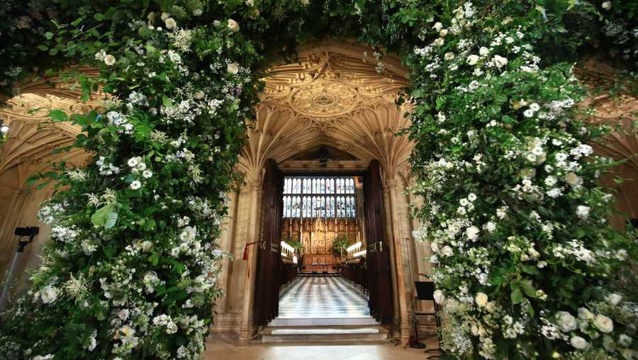 Flowers adorn the front of the organ loft inside St George's Chapel at Windsor Castle for the wedding of Prince Harry to Meghan Markle on May 19, 2018 in Windsor, England.