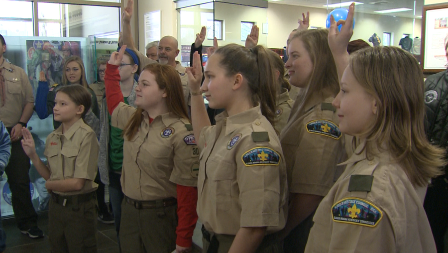 Boy Scouts hold historic welcome ceremony for girls joining program