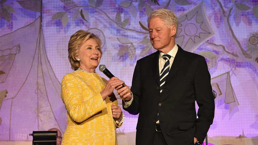 Former United States Secretary of State Hillary Clinton (L) and President Bill Clinton speak onstage during the SeriousFun Children's Network Gala at Pier 60 on May 23, 2017 in New York City.