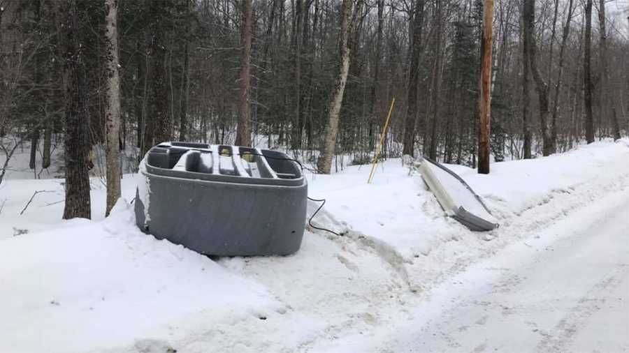 Hot tub found on side of road in Hill, police say