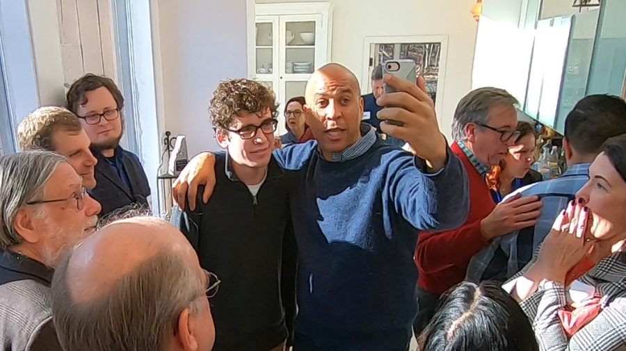 Sen. Cory Booker at a house party in Nashua Saturday.