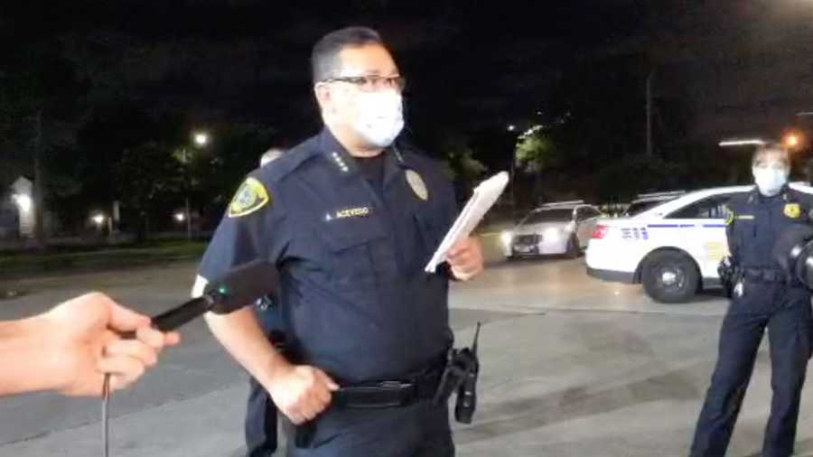 Houston Police Chief Art Acevedo, speaking early Saturday morning, said the pilots had to be cut from the wreckage.