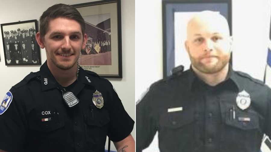 Officer Addison Cox, left, and Mike Rolerson were fired from the Rockland Police Department in Maine for allegedly beating porcupines to death.