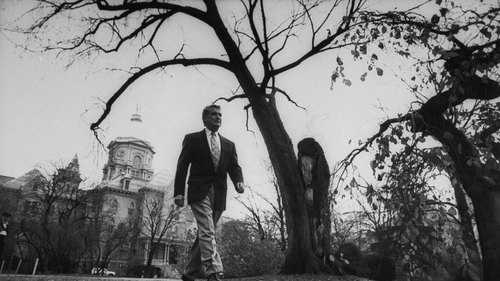 Regis Philbin walks across the University of Notre Dame campus in 1993. Philbin was buried at the university.