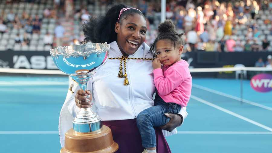 Serena Williams with her daughter Alexis Olympia after her win at the Auckland Classic tennis tournament on January 12, 2020.