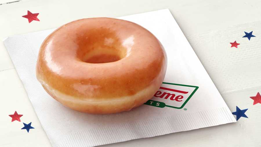 "Visitors to Krispy Kreme with an ""I Voted"" sticker get a free glazed doughnut on Election Day."