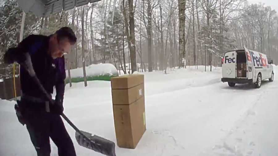 Jodi LaFreniere, a kindergarten teacher, said she was at school when she got an alert on her phone from her doorbell camera. When she went to look at the alert, she saw the FedEx delivery driver shoveling the snow on her front porch.