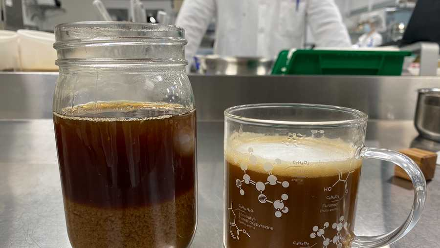 Plant-based milk doesn't mix well with coffee, as seen on the left. Coffee with Impossible's prototype, on the right, is designed to be creamier.