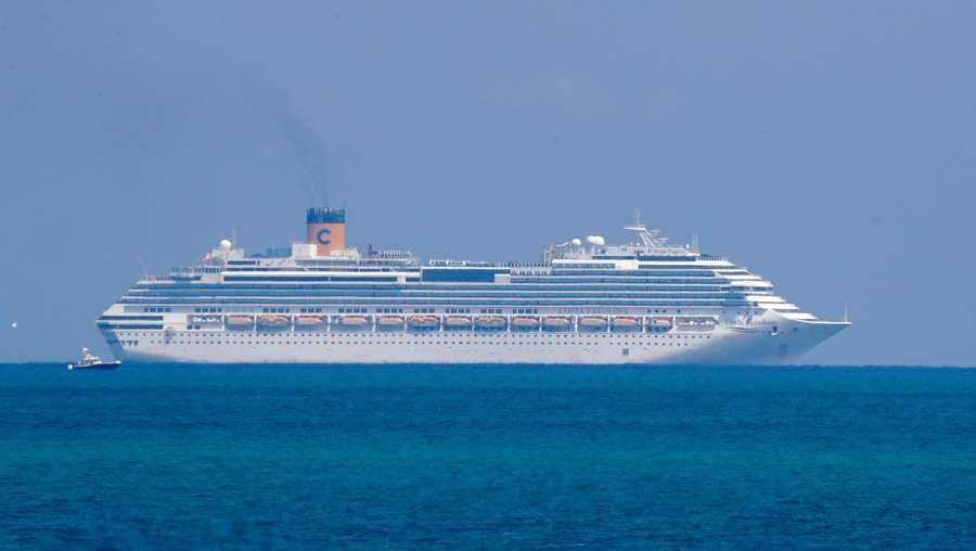 The Costa Cruise ship Favolosa is shown, Thursday, March 26, 2020, off the coast of Miami Beach, Fla.