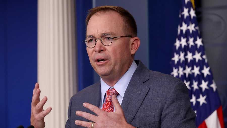 Acting White House Chief of Staff Mick Mulvaney answers questions during a briefing at the White House October 17, 2019 in Washington, DC.